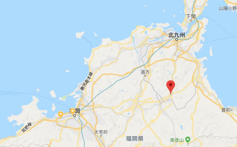 田川郡香春町の地図。福岡中心地から東にあり、通勤にはちょっと遠いです